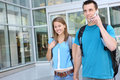 Couple at School (Focus on Woman) Royalty Free Stock Photo