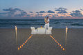 Couple at sea beach during luxury romantic dinner Royalty Free Stock Photo