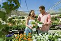 Couple Selecting Flower Plants Stock Image