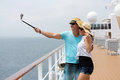 Couple self portrait cruise adorable taking on Royalty Free Stock Photography