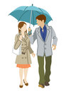 Couple sharing an umbrella front view isolated vector illustration Stock Photos