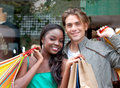 Couple of shoppers Royalty Free Stock Photo
