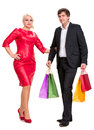 Couple with shopping bags bright on a white background Stock Photo