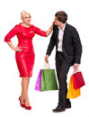 Couple with shopping bags bright on a white background Stock Images