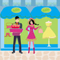 Couple on shopping winter sales illustration Royalty Free Stock Photos
