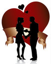 Couple silhouette with heart and ribbon Royalty Free Stock Photo