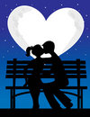 Couple Silhouette Moon Stock Photo