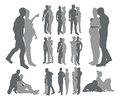 Couple silhouettes pregnant woman high quality detailed of a young with in various poses Royalty Free Stock Photography