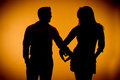 Couple silouette photography holding hands Royalty Free Stock Photo