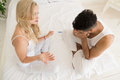 Couple Sitting Bed Argue, Having Conflict Relationships Problem, Sad Negative Emotions