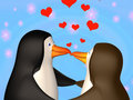 Couple the smiling in love 3D penguins Royalty Free Stock Images
