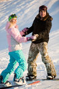 Couple of snowboarders Royalty Free Stock Photo