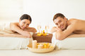 Couple in spa picture of salon drinking champagne Royalty Free Stock Photo