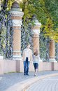 Couple in st petersburg russia walking Royalty Free Stock Photos