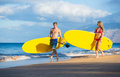 Couple with stand up paddle boards attractive sup on the beach in hawaii Royalty Free Stock Images