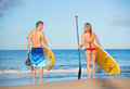 Couple stand up paddling in hawaii attractive active life concept Royalty Free Stock Photos