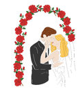 Couple standing under the wedding arch on the wedding day. vector illustration Royalty Free Stock Photo