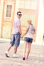 Couple strolling about the city a picture of a happy Royalty Free Stock Image