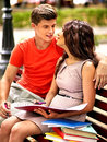 Couple student with notebook outdoor summer Royalty Free Stock Photos