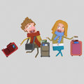 Couple with suitcases.