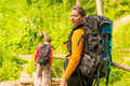 Couple in summer hike with backpacks Royalty Free Stock Photo