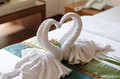 Couple swans towels Royalty Free Stock Photo