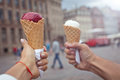 Couple with sweet ice-cream Royalty Free Stock Photo
