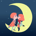 Couple sweetheart lovers kiss on the moon.