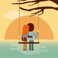 Couple on swing seeing the sunset icon. Vector graphic