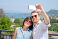 Couple taking  selfie during vacations Royalty Free Stock Photo