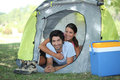 Couple in a tent Royalty Free Stock Images