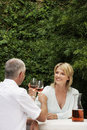 Couple toasting red wineglasses at lawn happy while sitting Stock Image