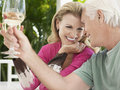 Couple toasting wine glasses cheerful middle aged Stock Photos