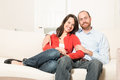 Couple together having fun in the living room Royalty Free Stock Photo
