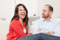 Couple together having fun in the living room Royalty Free Stock Image