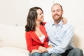 Couple together having fun in the living room Royalty Free Stock Photos