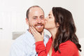 Couple together having fun in the living room Stock Photography