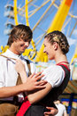 Couple in Tracht on Dult or Oktoberfest Royalty Free Stock Images
