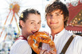 Couple in Tracht on Dult or Oktoberfest Royalty Free Stock Photography