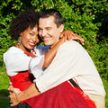 Couple in traditional Bavarian dress Stock Photography