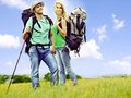 Couple on travel with backpack summer outdoor Royalty Free Stock Images