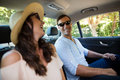 Couple traveling in car Royalty Free Stock Photo