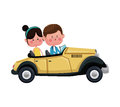 Couple traveling classic car lovely