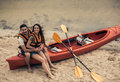 Couple travelling by kayak Royalty Free Stock Photo