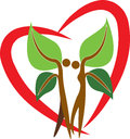 Couple tree logo illustration art of a with heart shape Stock Image
