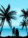 Couple in a tropical landscape Stock Images