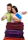 Couple with trunks and tickets suitcases isolated concept of romantic vacations lovely honeymoon Royalty Free Stock Photo