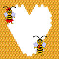 A couple of two funny cartoon bees with a heart su surrounded by honeycombs valentines day postcard vector art illustration Royalty Free Stock Images