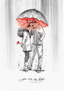 Couple with umbrella. Ink graphic illustration.