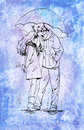 Couple with umbrella. Ink graphic illustration on watercolor background.